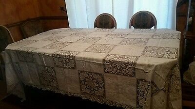 Large Antique Hand Made Embroidered Net Lace Linen  Tablecloth 124 x 68