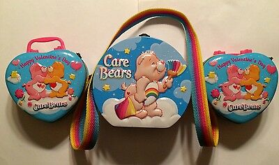 Lot of 3 Care Bears METAL TINS/TRINKET BOXES/PURSE Cheer-Grumpy-Love a Lot-Share