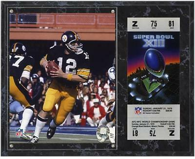 Pittsburgh Steelers Super Bowl XIII Terry Bradshaw Plaque with Replica Ticket
