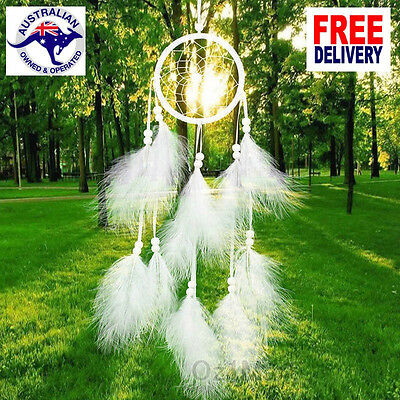 White Handmade Circle Dream Catcher Feather Beads Decor Hanging Ornament