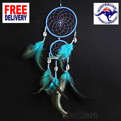 Blue Handmade Double Circle Dream Catcher Feather Beads Hanging Ornament Decor