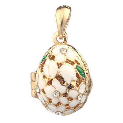Faberge Egg Pendant / Charm with Flowers 2.1 cm white #2-1020-01