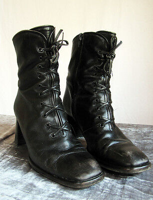 vintage 90s Italian leather witchy boots - boho goth grunge - Innovare - 39 7 8