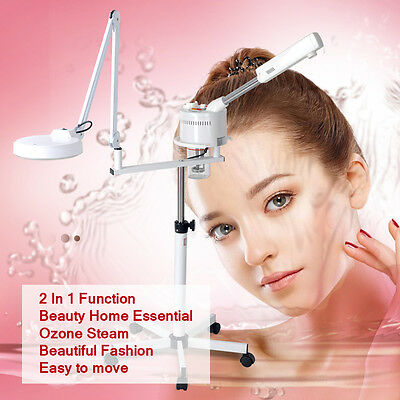 2In1 Facial Steamer Magnifying Lamp Moisture Skin Ozone Face Ion Xmas Specials