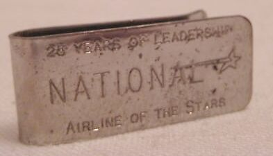 Old National Airlines Advertising Money Clip - 1934-1980 Airline of the Stars