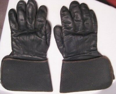 Old Leather Motorcycle Gloves w/ embroidered Hansen Label