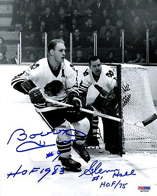 Psa/dna Bobby Hull-Glenn Hall Autographed Chicago Blackhawks 8X10 Photo 6A77253