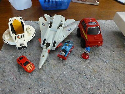 6 Toys - cars fighter jet Thomas Tank engine, figure, 1980s  collectable vintage