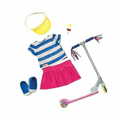 Our Generation Cute to Scoot Outfit - Doll Clothes Skirt Shoes Top with Scooter