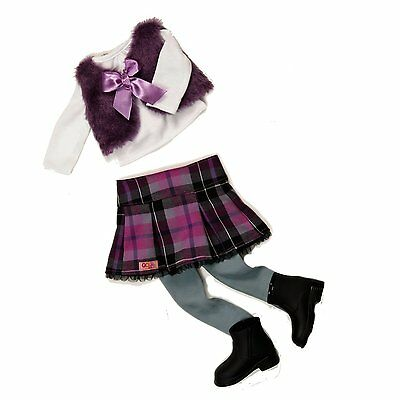 Our Generation A Taid Plaid Outfit - Doll Clothes Skirt Top Boots Fur Wrap