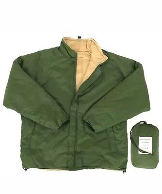 NEW British Army Thermal Softie Cold Weather Jacket LARGE Green Sand Reversible