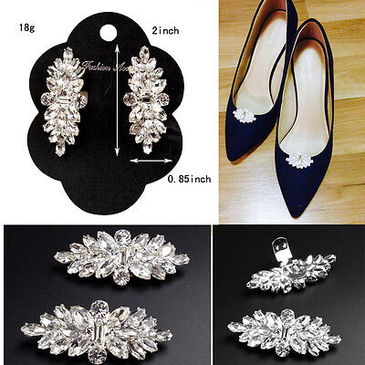 1Pair Women's Rhinestone Tone Boots Shoe Clips Buckle Decoration Wedding Gifts