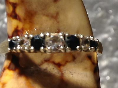 VINTAGE 9ct GOLD CZ AND SAPPHIRE SET ETERNITY RING - SIZE L