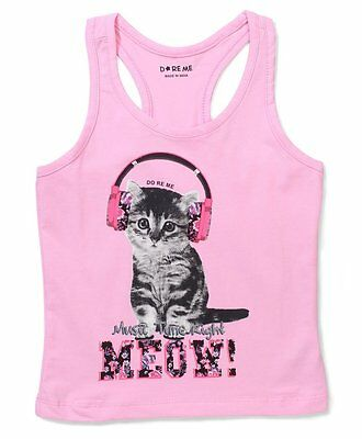 Baby Girls Size 1~7- Top / T-Shirt Cat with headphone Print -Pink -Cotton Lycra