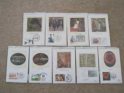 Benham Small Silks Postcards First Day Covers x 9 sets (1980's)