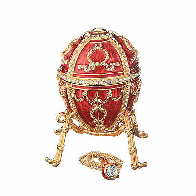 Faberge Egg with Arrows Trinket Jewel Box / Flower & Pendant 3.2'' (8.2cm) red