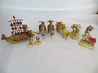 Vintage Japanese Celluloid Miniature Hand Painted Figures Set - Collectable!