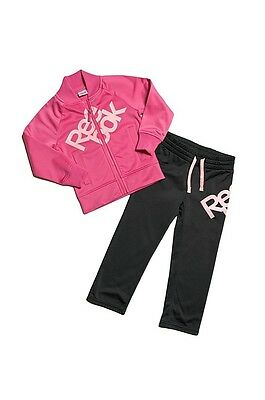 Size 7-8 Years Old - Reebok Large Text Full Tracksuit - Pink / Black