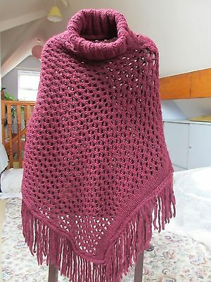 BERRETTI  Poncho  Made in ITALY Burgundy (One Size) NEW