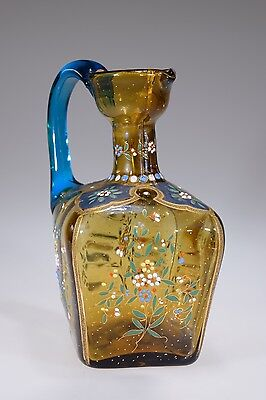 Victorian AMBER & BLUE Bohemian Square Handled Enameled Deco. Decanter / Pitcher