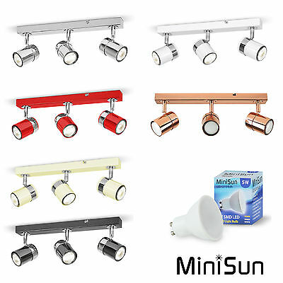 Modern 3 Way Straight Bar Adjustable Spotlight Spot Light Bedroom Kitchen Chrome