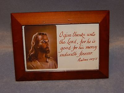 Small Religious Christian Plaque - Psalms 107:1 - Jesus Christ - Glass Covered