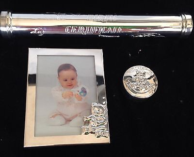 Baby Silver Plated Keepsake Gift Set First Tooth, Birth Certificate Box, Photo
