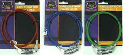 4 Digit Bicycle Combination Lock Spiral Steel Chain Cable Lock Assorted Colours