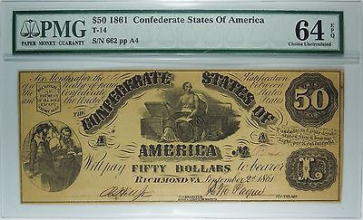 T-14 1861 $50 Confederate States of America PMG 64 EPQ Choice Uncirculated