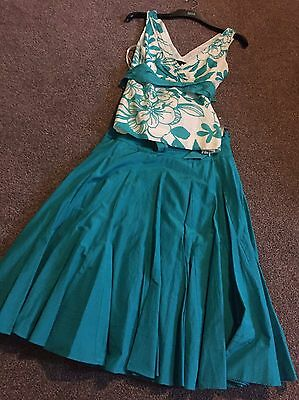 Women's Skirt And Top From Coast Size 8 - Teal