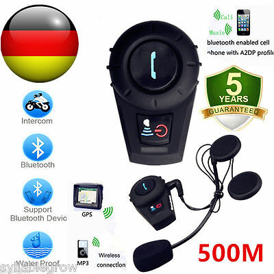 Motorrad Headset Bluetooth Gegensprechanlage 500M BT Interphone Sprechanlage GPS