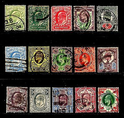 A nice set (15 used ?) King Edward VII stamps 1/2d to 1/-   Cat  over £275