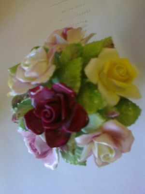 Royal Doulton Bone China Multicolor Bouquet Of Flowers In Basket