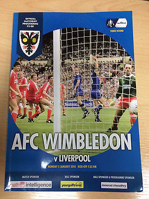 AFC Wimbledon v Liverpool FA CUP 3rd Round programme 05/01/15