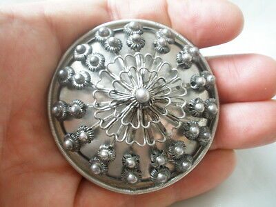 Macedonia Greek Antique Silver 19th c. Ottoman Large Filigree Brooch Lovely Rare