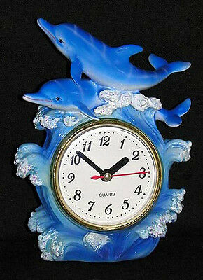 NEW~Decorative Blue Dolphin Fish On Waves~Table Mantel Shelf Clock Nautical