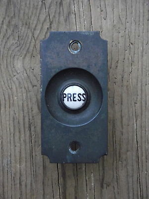 Edwardian Brass Door Bell Press push old vintage reclaimed victorian front pine