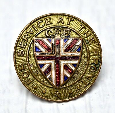 Vintage Ww1 'for Service At The Front' C.e.f. Pin/badge Great Britian