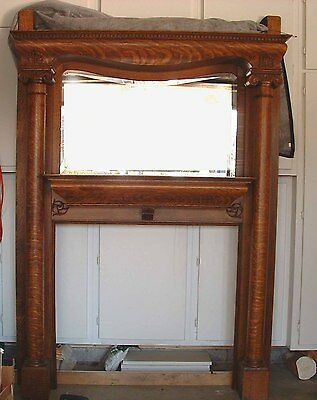 Antique Tiger Oak Fireplace Mantle