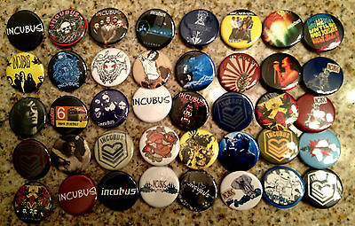 Set of 40 Incubus collectible pins/buttons/badges brandon boyd