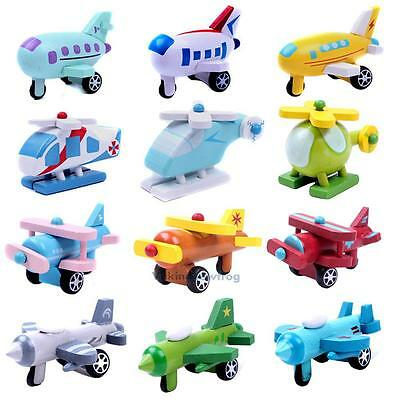 Mini Wooden Aircraft Airplane Car Educational Toys Baby Kids Children Fun Gift V