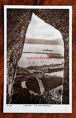 Early Photo Postcard Rp Gibraltar The Rock Galleries View To Sea Ships