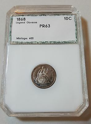1868 Liberty Seated Dime 10C Proof Graded Mintage 600 Legend Obverse