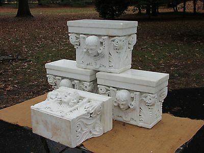 4 Antique French Marble Architectural Capitals Art Nouveau Sculpture Religious