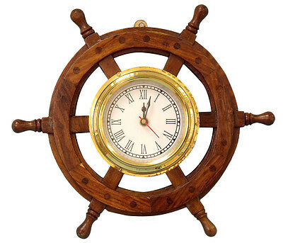 "New 12"" Wooden Ship's Wheel Clock~Polished Solid Brass Hub Wall Mount Nautical"