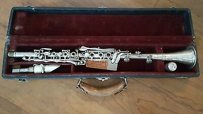 RARE AMERICAN Harry Pedler & co SILVER clarinet with case
