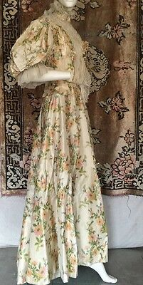 Antique Victorian Watercolor Splash Pink & Green Printed Silk Gown Pearls Beaded