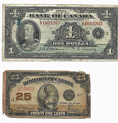 1923 Canada 25 Cents Banknote and 1935 Bank of Canada $1 One Dollar 2x Notes