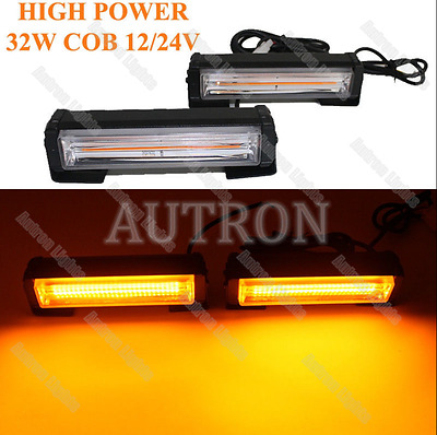 """12.5"""" 2in1 32W COB LED Emergency Warning Amber Security Flash Grill Strobe Light"""