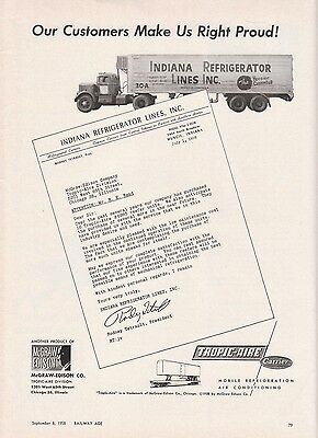 1958 Tropic-Aire Div McGraw-Edison Co Ad Indiana Refrigerator Lines Reefer Truck